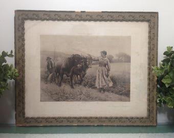 The Plowman's Daughter, E. Debat-Ponsan 1891, Photogravure Goupil & Co framed antique vintage heliogravure print, D Appleton and Co New York