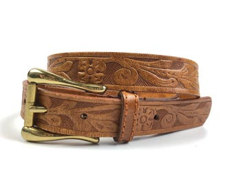 Vintage Western Tooled Leather Belt by Liz Claiborne Size Medium