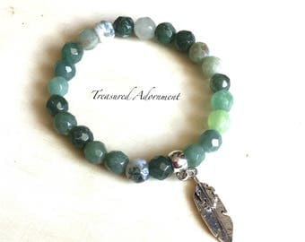 Ready To Ship, Mens Bracelet, mixed Gemstone Bracelet, Green Agate, Stretch Bracelet, Holiday gift, Feather Charm Bracelet