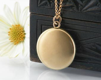 Antique Locket | Satin Polish Gold Victorian Locket Necklace | Smooth Minimal Gold Photo Locket - 20 Inch Chain in Matte Black or Gold Fill