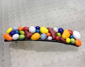 French Hair Barrette Clip, Multicolor Bubbles of Art Glass, Extra Large