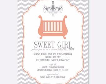 Baby Girl Chandelier Crib Shower/Invitation, Fancy Baby Shower Invitation, Girl Baby Shower, Modern Baby Shower, Pattern Invitation