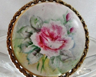 SALE Vintage Handpainted China Rose Brooch. Pink & Green Rose Flowers Porcelain Cameo Pin.