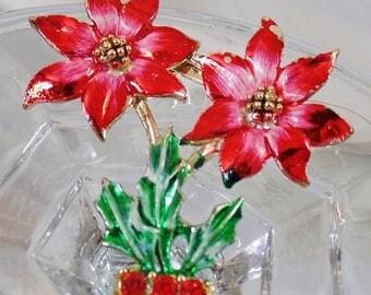 SUPER SALE Vintage Handpainted Rhinestone Poinsettia Brooch.  BJ Beatrix.  Vintage Christmas Poinsettia Flowers Pin.