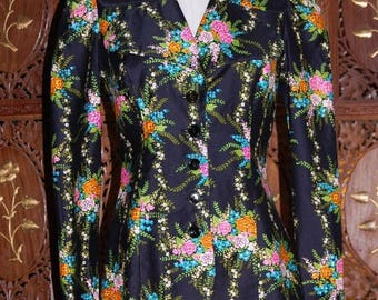 ON SALE Vintage 1970s 'Young Edwardian Arpeja Floral Jacket