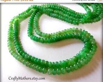 7% off SHOP SALE Green CHRYSOPRASE Smooth Rondelles, 2 inch strand, 3.6-3.9mm diameter, rare natural gemstones