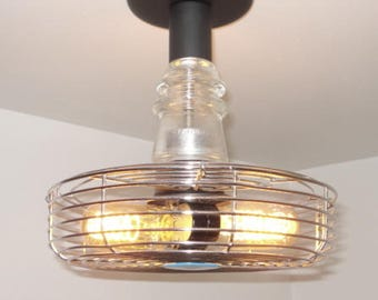 INDUSTRIAL Ceiling Light with VINTAGE 'Superior Electric' Cage Insulator Edison Bulbs Upcycle Recycle Repurpose Flush Mount Lighting Fixture