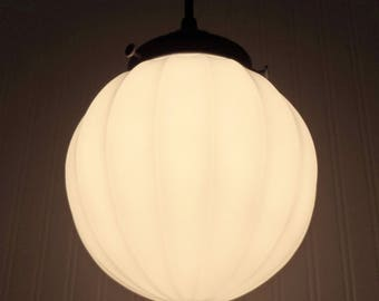 Vintage SATIN WHITE Glass PENDANT Light - Lighting Fixture Chandelier Flush Mount Ceiling Modern Mid Century Lamp by LampGoods