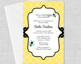 PRINTED Bumble Bee Invitation, 5 x 7, Birthday, Bee-Day, Baby Shower, Ba-Bee, Bridal Shower, Meant to Bee, Customized w/ Your Wording