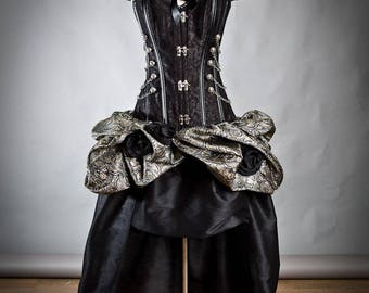 Custom Size Black Silver and Gold Steampunk Burlesque corset bustled train chain and roses prom dress small-xl