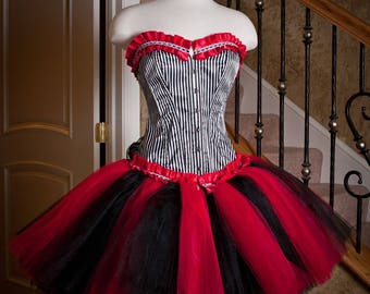 Custom Size Queen of Hearts Red black and white burlesque corset tutu dress Halloween