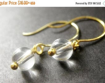 BACK to SCHOOL SALE Crystal Ball Clear Glass Earrings in Gold. Handmade Jewelry by Gilliauna