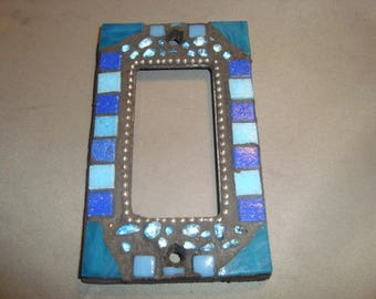 MOSAIC Outlet Cover or Switch Plate, GFI Decora, Wall Plate, Wall Art, Shades of Blue