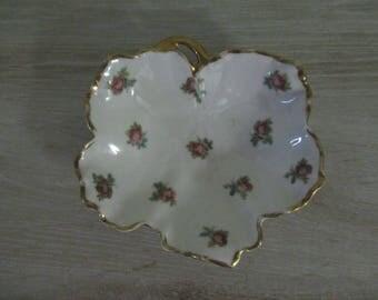 Leaf Shaped Limoges Candy Trinket Soap Dish France Roses