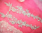 """Embroidered Lace Appliques Silver Floral Venice Lace Mirror Pair 14"""" (DH82-sl)"""
