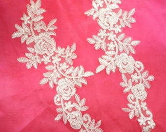 """Embroidered Lace Appliques White Floral Venice Lace Mirror Pair 14.5"""" (DH106X-wh)"""