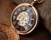 Premium Rose Gold and Black Engraved Pocket Watch, Watch Chain, 17 Jewel Watch Movement - Groomsmen Gift - Wedding Gift Set - Item MPW646
