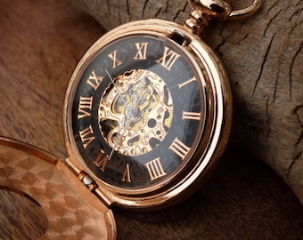 Premium Rose Gold and Black Engraved Pocket Watch, Watch Chain, 17 Jewel Watch Movement, Groomsmen Gift, Engraving Options - Item MPW646