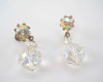 Vintage Crystal Cut Screw On Earrings • Vintage Drop Dangle Opalescent Earrings
