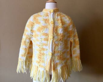 Vintage 1960s Girls Size 6-7 Knit Poncho, Yellow White Mustard Acrylic Fringed, Boho Hippie Outerwear