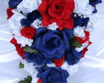 Wedding Silk flowers Bouquet Bridal BURGUNDY CHAMPAGNE GOLD