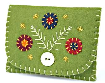 Sale* Felt coin purse, Floral purse, Handmade coin purse, Olive green felt purse, Flower purse, Handmade felt purse, Green coin purse