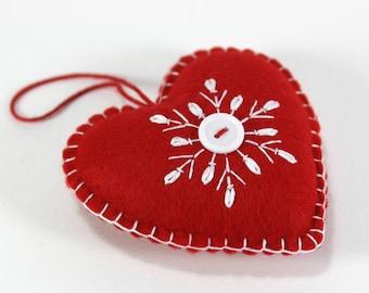 Felt Christmas Ornament, Scandinavian Heart Christmas ornament, Red and white felt snowflake ornament, Handmade felt heart ornament.