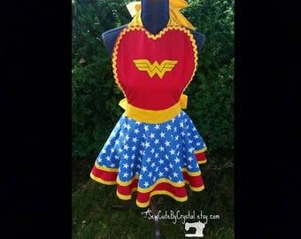 Wonder Woman Themed Pinup Apron, Cosplay, Super Hero, Comic Con, Retro Fun Flirty Apron - Red, Yellow, Blue & White Stars - Custom Made