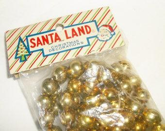 Vintage SANTA LAND Gold Mercury Glass Bead Christmas Garland • new in package • Japan