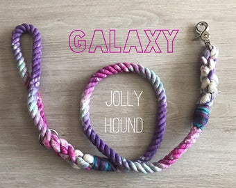 Galaxy Rope Dog Lead / 12mm rope leash / rope lead / dog lead / dog leash / rope dog lead / soft lead / tie dye / dyed lead