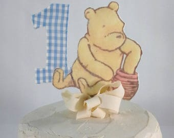 Classic Pooh bear cake topper, fabric Winnie the Pooh first birthday cake, party decoration G223