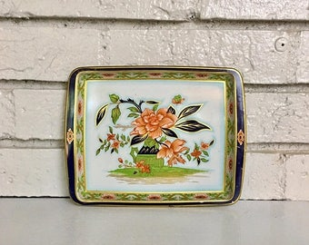 ON SALE Vintage Small Metal Tin Tray // Floral Daher Catchall Serving Bar Jewelry Tray // Vanity Tray // Kelly Green Navy Chinoiserie Decor