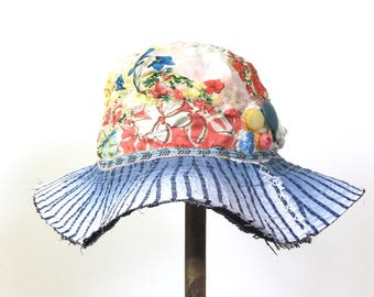 Upcycled Handmade Hat with Wide Brim Floral Boho Design