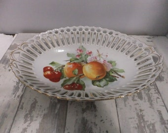 Vintage Serving Bowl RW Bavaria Reticulated Porcelain Oblong Oval Apples and Cherries Fruit White with Gold Cutout Design