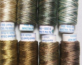 Valdani Luxury Pearls Golds Perle Silk Thread Size 12 Hand-dyed 8 Spools 12VAK1