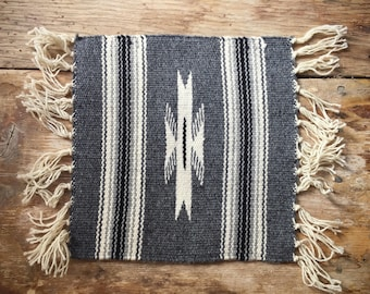 """Vintage 10"""" x 10"""" handwoven wool miniature rug or small table runner Southwestern decor"""