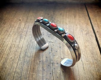 Vintage silver coral and turquoise row bracelet Old Pawn Navajo cuff bracelet turquiose jewelry