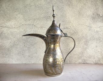 Antique Dallah Arabic coffee pot  etched and stamped has bent spire, brass decor, home decor, Islamic coffee pot, artistic Arab metalwork