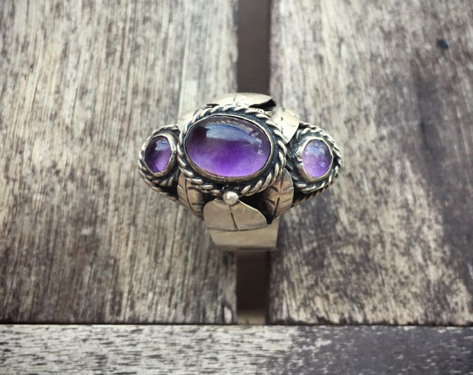 Featured listing image: Vintage Taxco sterling silver amethyst poison ring Mexican Art Nouveau jewelry February birthstone