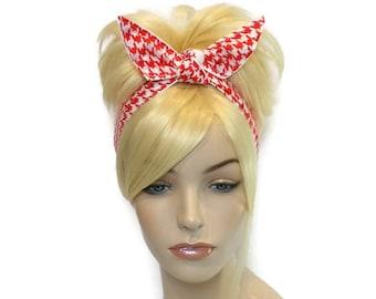 Red Headband, White Headband, Houndstooth Wired Headband, Head Bands for Women, Teen Headbands, Dolly Bow Headband, Gifts for Teen Girls