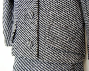 1960s MOD LADIES DRESS Suit / Gray Striped Jacket and Skirt,  size xl