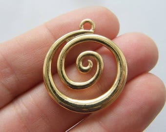 4 Waves spiral sea charms gold tone GC78