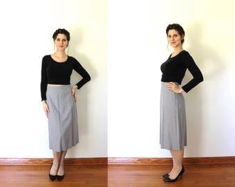 1950s Skirt / 50s Skirt / 1950s Pencil A Line Skirt / 1950s Wool Gabardine High Waisted Grey Gray Skirt