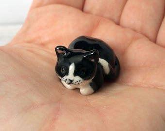 Hand crafted miniature ceramic tuxedo cat totem / cat figurine by Anita Reay cat lovers gift