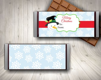 Snowman Candy Bar Wrapper / Chocolate Bar Wrapper / Christmas Candy Wrapper / Stocking Stuffer / School Christmas / Candy Bar Printable