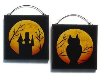 Halloween Moon Silhouette, Owl, Haunted House, Handpainted Wood Wall Hanging, Hand Painted Home Decor Wall Art, Tole Decorative Painting