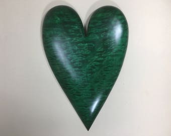 Heart green special wood Anniversary present carved wood heart gift