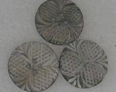 3 Quality Carved Three Leaf Clover Vintage 27mm Shell  Buttons