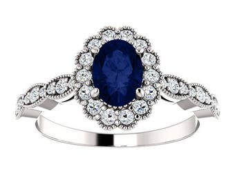 Oval Blue Sapphire & Diamond Halo Engagement Ring, Unique Engagement Ring, September Birthstone Ring