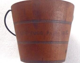 Vintage Miniature Wood Bucket New England Food Pail 1908